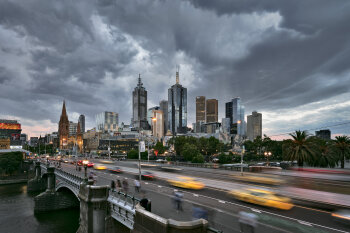 Storm over Melbourne and Princes Bridge