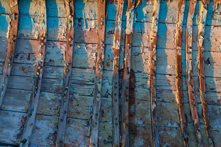 Weathered wooden boat ribs